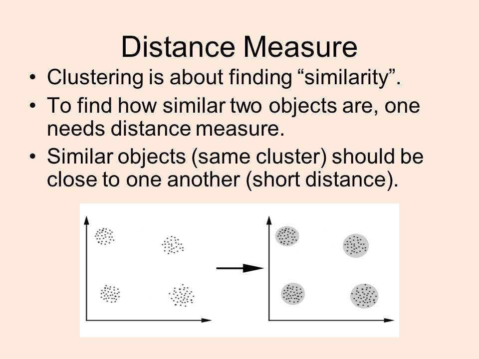 Distance Measure Clustering is about finding similarity .