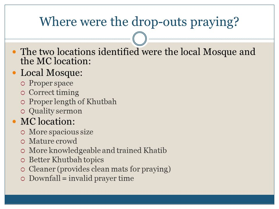 Where were the drop-outs praying.
