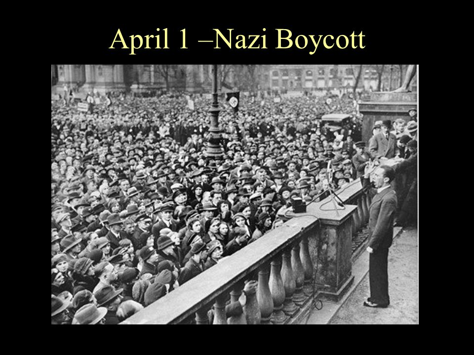 Nazi Boycott Nazis force three Jewish businessmen to march down Bruehl Strasse, one of the main commercial streets in central Leipzig, carrying signs that read: Don t buy from Jews; Shop in German businesses!
