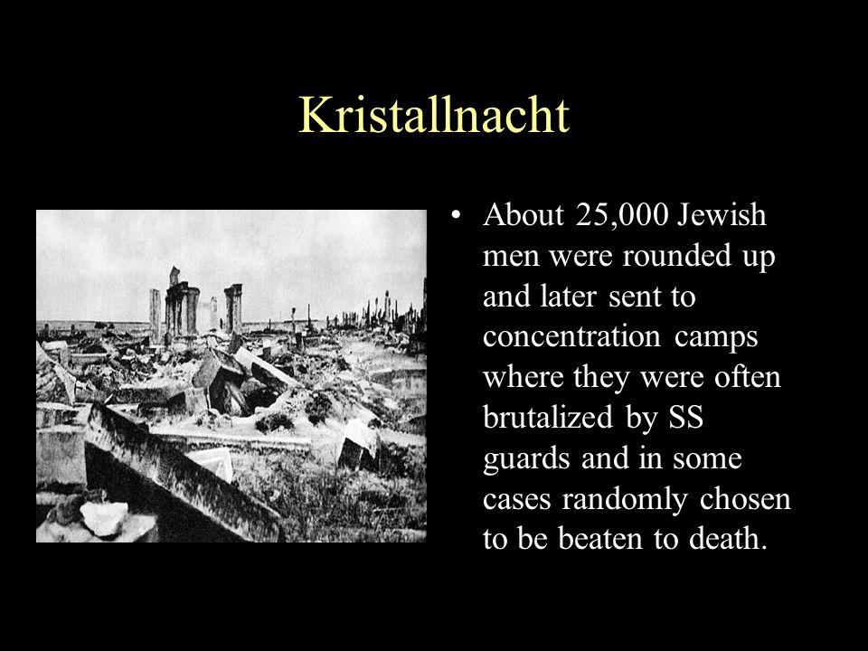Kristallnacht Punishment Nov 12, 1938 - Nazis fine Jews one billion marks for damages related to Kristallnacht.