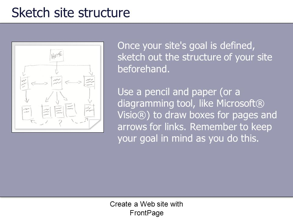 Create a Web site with FrontPage Add a page layout to the page The layout of a Web page is the skeletal structure of the page.