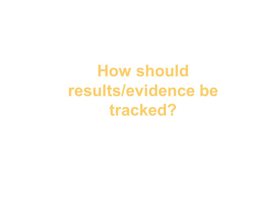 How should results/evidence be tracked