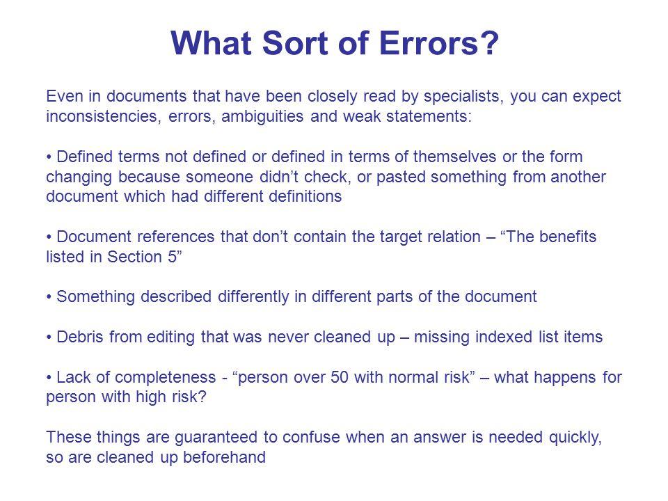 What Sort of Errors.