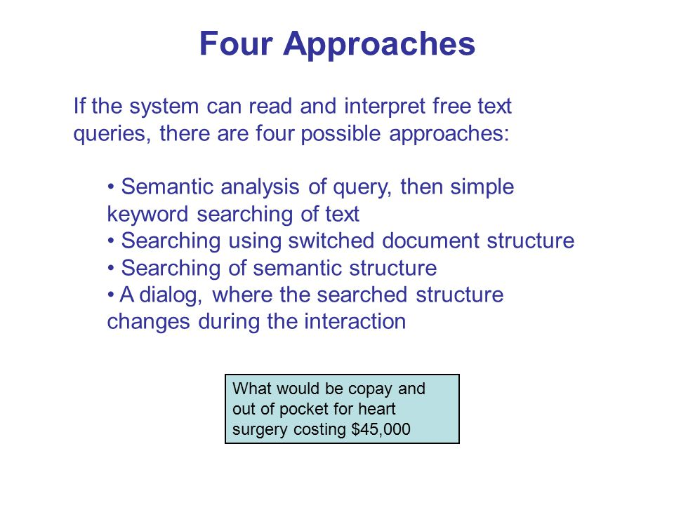 Four Approaches If the system can read and interpret free text queries, there are four possible approaches: Semantic analysis of query, then simple keyword searching of text Searching using switched document structure Searching of semantic structure A dialog, where the searched structure changes during the interaction What would be copay and out of pocket for heart surgery costing $45,000