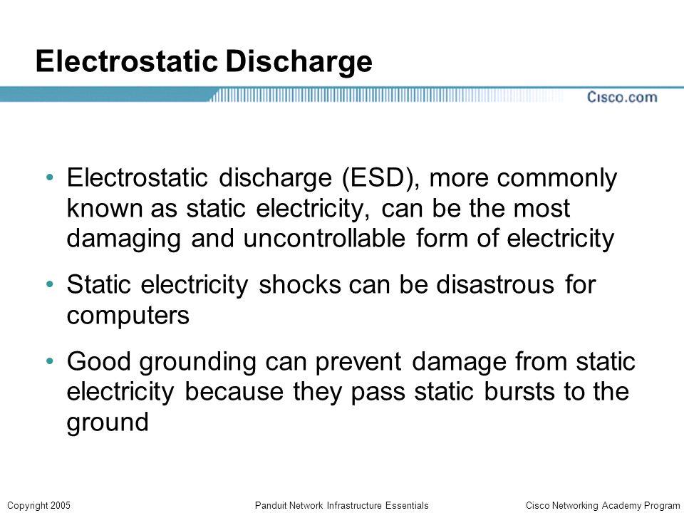 Cisco Networking Academy ProgramCopyright 2005Panduit Network Infrastructure Essentials Electrostatic Discharge Electrostatic discharge (ESD), more co
