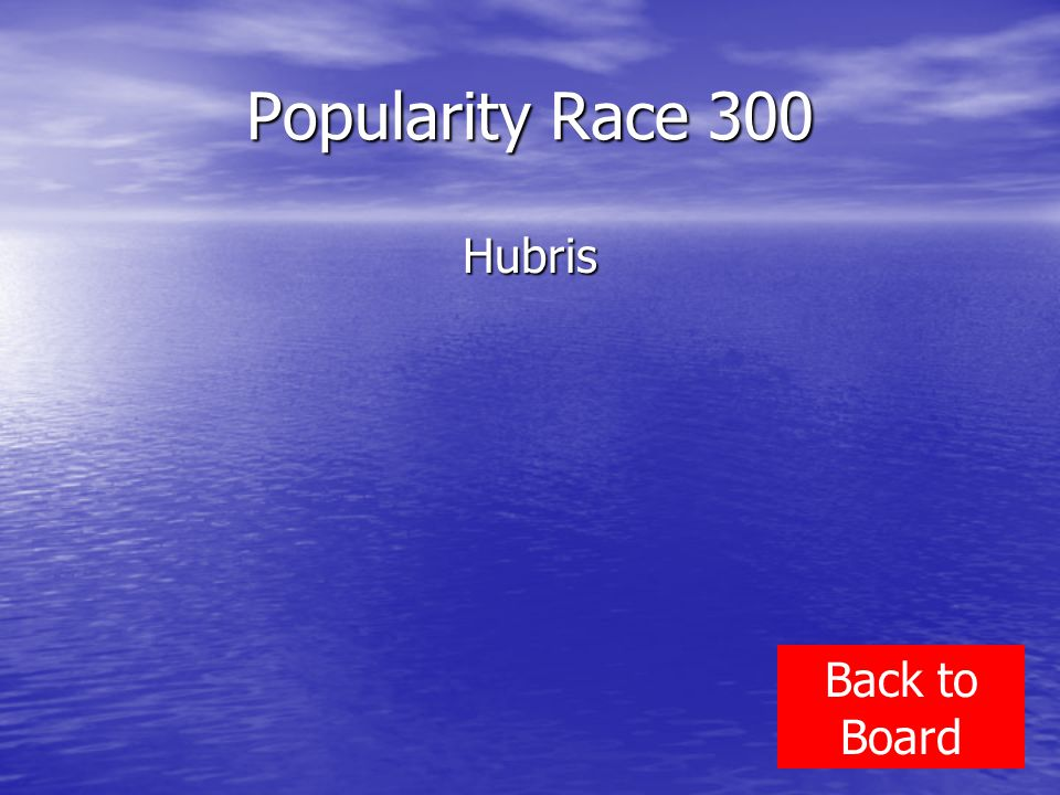 Popularity Race 300 Hubris Back to Board