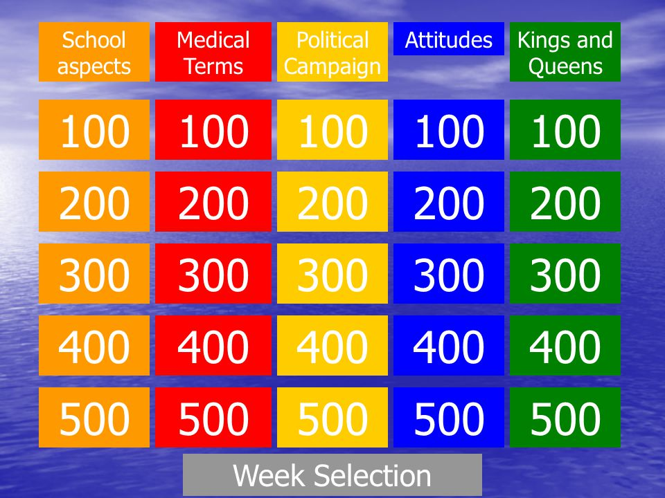 School aspects 100 200 300 400 500 Medical Terms 100 200 300 400 500 Political Campaign 100 200 300 400 500 Attitudes 100 200 300 400 500 Kings and Queens 100 200 300 400 500 Week Selection