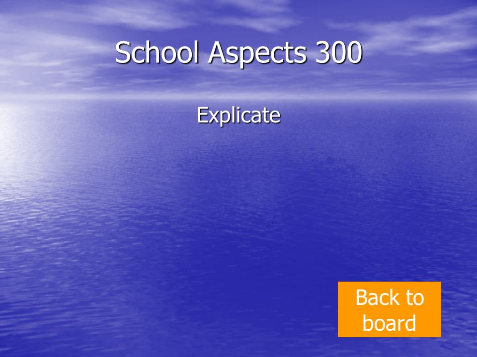 School Aspects 300 Explicate Back to board
