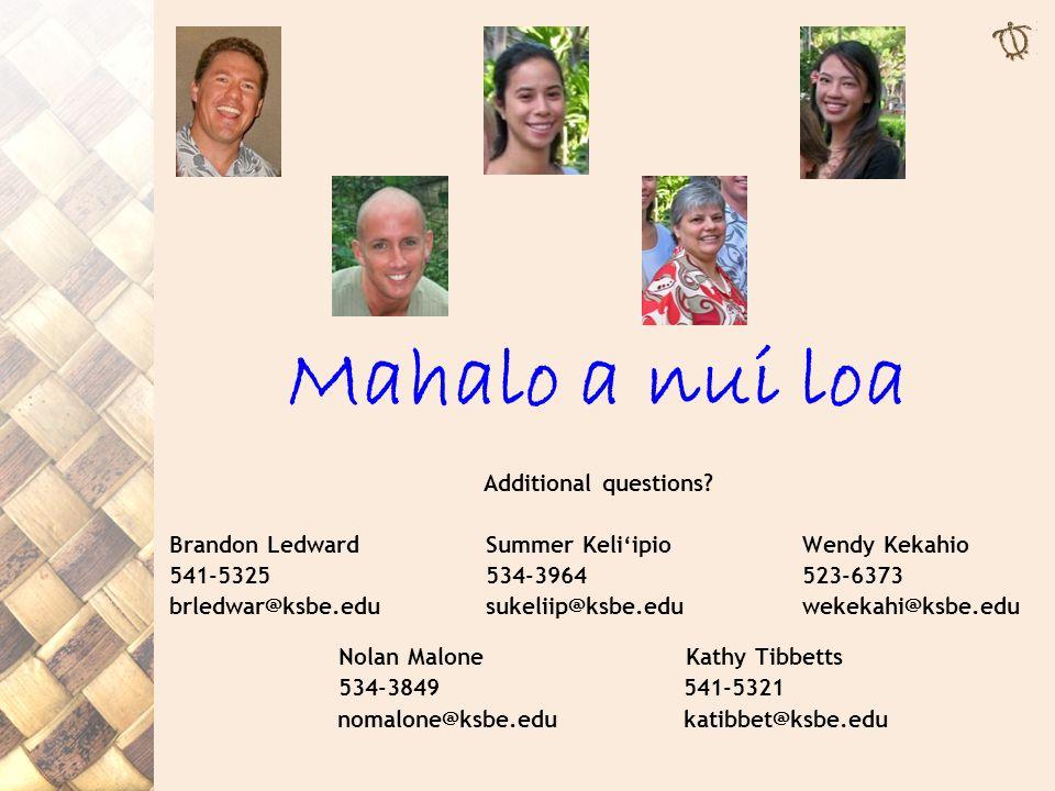 Mahalo a nui loa Additional questions.