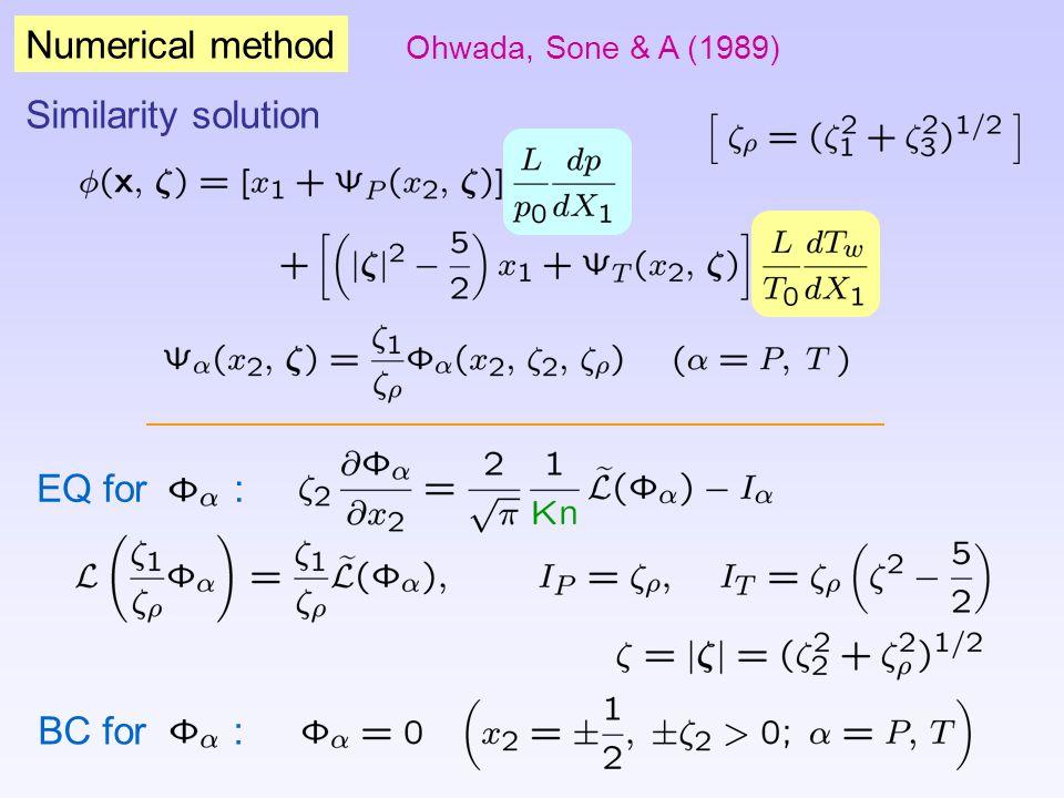 Numerical method Ohwada, Sone & A (1989) Similarity solution EQ for : BC for :
