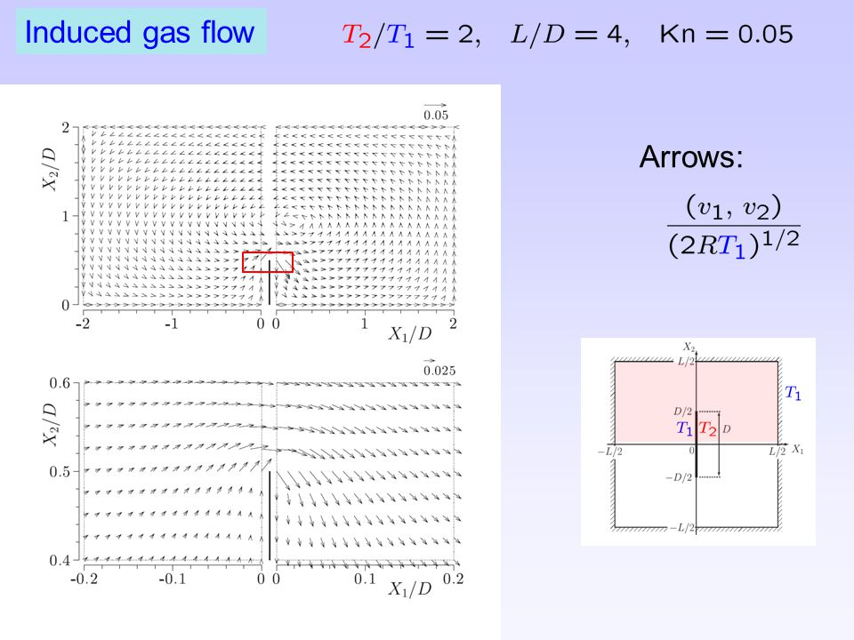 Induced gas flow Arrows:
