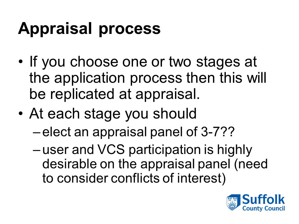 Appraisal process If you choose one or two stages at the application process then this will be replicated at appraisal. At each stage you should –elec