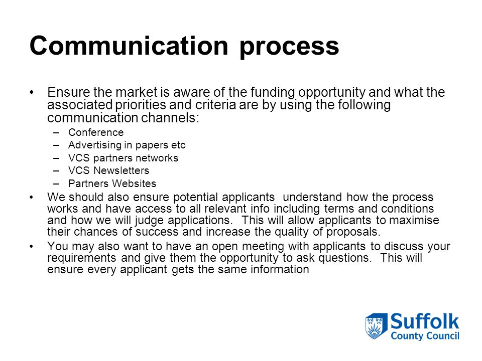 Communication process Ensure the market is aware of the funding opportunity and what the associated priorities and criteria are by using the following communication channels: –Conference –Advertising in papers etc –VCS partners networks –VCS Newsletters –Partners Websites We should also ensure potential applicants understand how the process works and have access to all relevant info including terms and conditions and how we will judge applications.