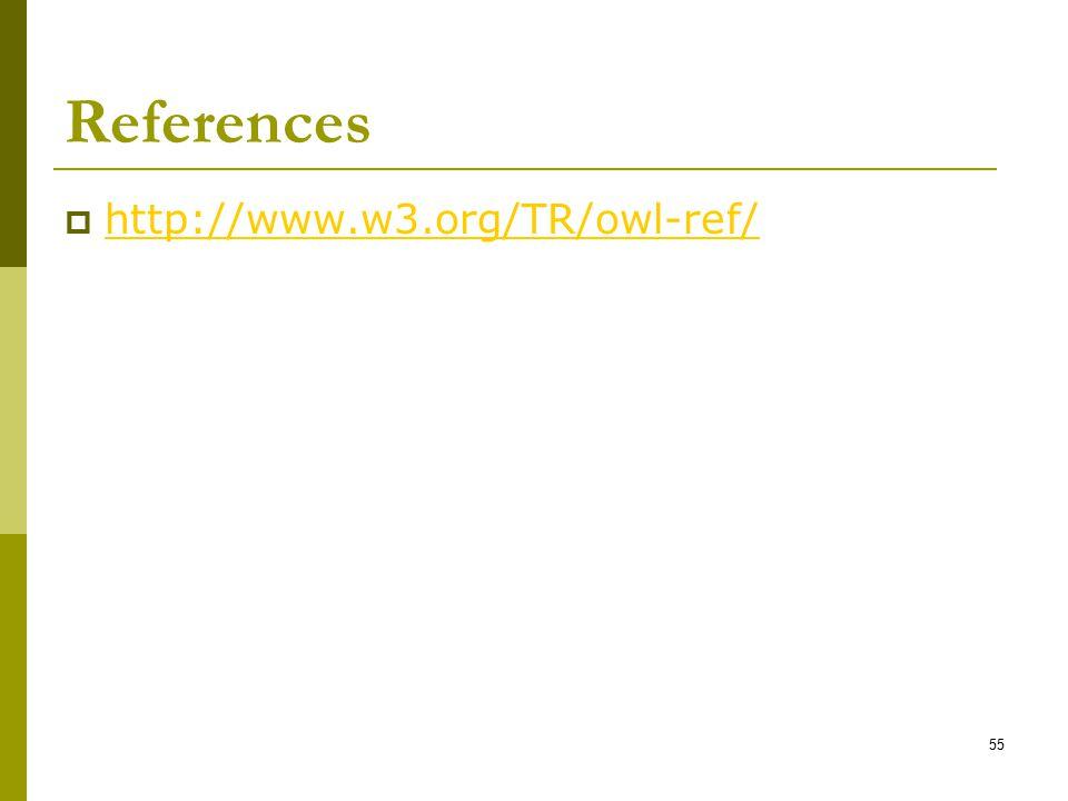 55 References  http://www.w3.org/TR/owl-ref/ http://www.w3.org/TR/owl-ref/