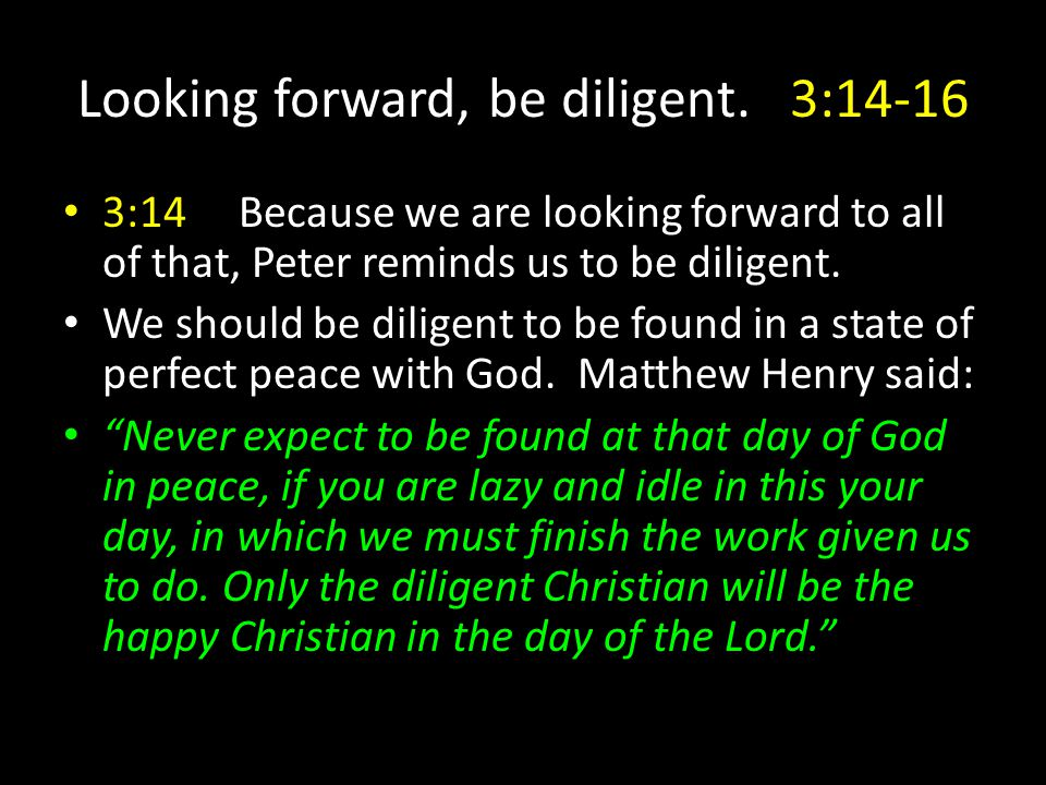 Looking forward, be diligent.