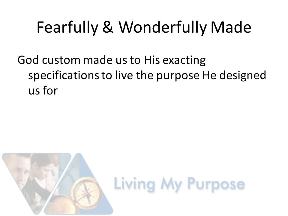 Gods Will for Our Lives To ignore our design is to circumvent His will in our lives.