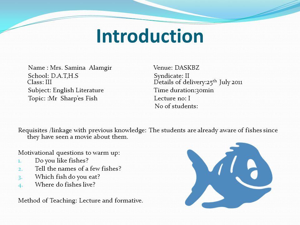 Long Term Goals: Final Term Syllabus 2011-2012; English literature: 1.