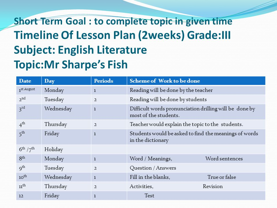 Short Term Goal : to complete topic in given time Timeline Of Lesson Plan (2weeks) Grade:III Subject: English Literature Topic:Mr Sharpe's Fish DateDa