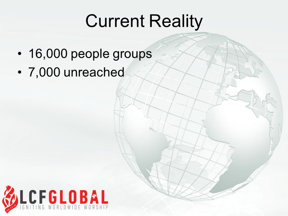 Current Reality 16,000 people groups 7,000 unreached