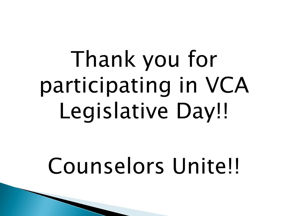 Thank you for participating in VCA Legislative Day!! Counselors Unite!!