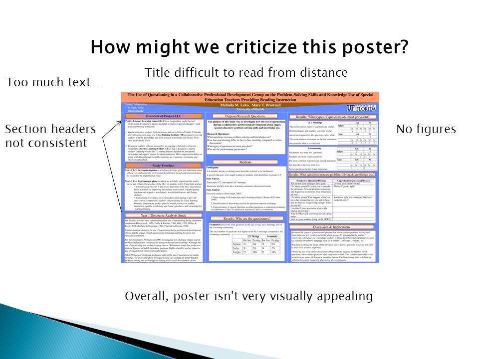 How might we criticize this poster? Too much text… No figuresSection headers not consistent Overall, poster isn't very visually appealing Title diffic