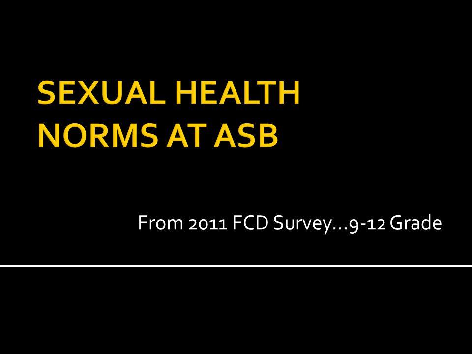From 2011 FCD Survey…9-12 Grade