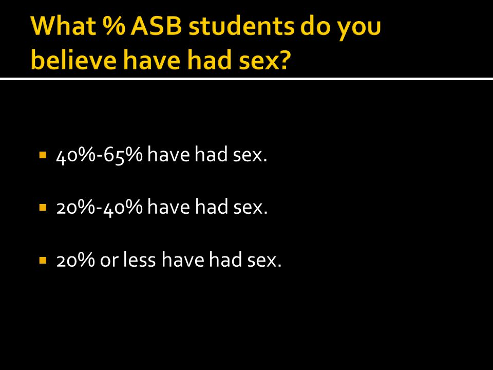  40%-65% have had sex.  20%-40% have had sex.  20% or less have had sex.