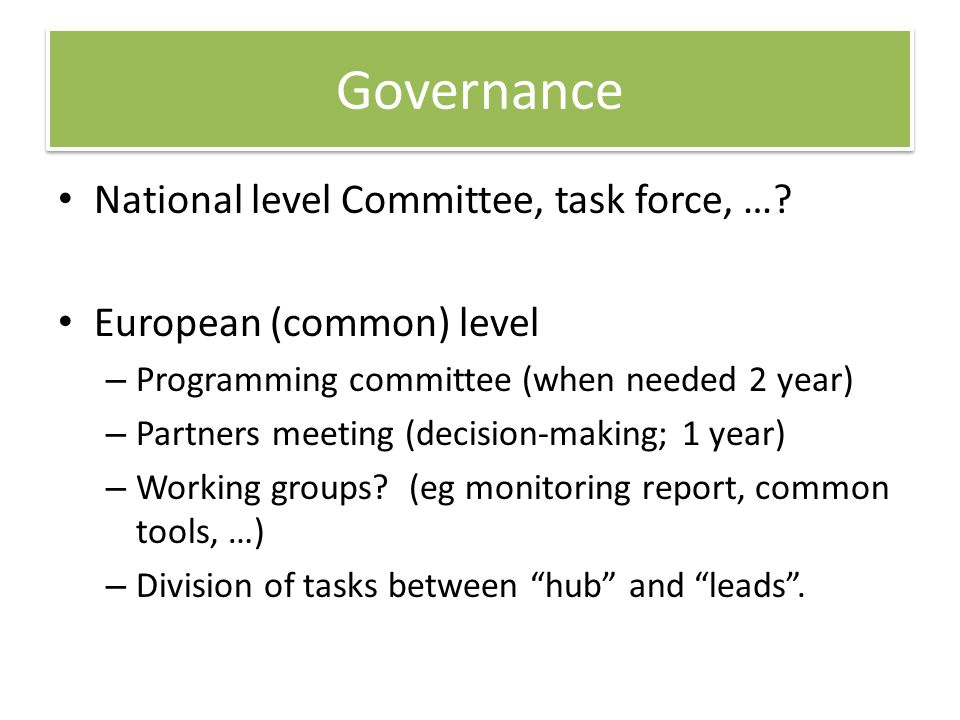 Governance National level Committee, task force, …? European (common) level – Programming committee (when needed 2 year) – Partners meeting (decision-
