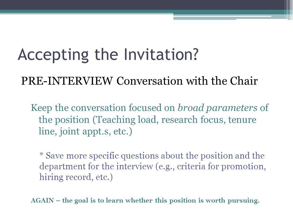Accepting the Invitation.