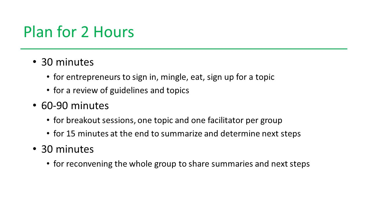 Plan for 2 Hours 30 minutes for entrepreneurs to sign in, mingle, eat, sign up for a topic for a review of guidelines and topics 60-90 minutes for breakout sessions, one topic and one facilitator per group for 15 minutes at the end to summarize and determine next steps 30 minutes for reconvening the whole group to share summaries and next steps