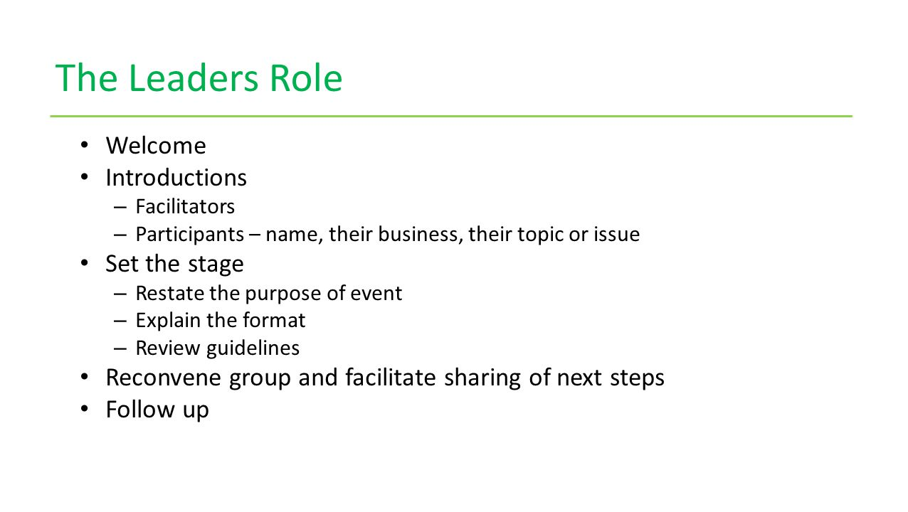 The Leaders Role Welcome Introductions – Facilitators – Participants – name, their business, their topic or issue Set the stage – Restate the purpose of event – Explain the format – Review guidelines Reconvene group and facilitate sharing of next steps Follow up
