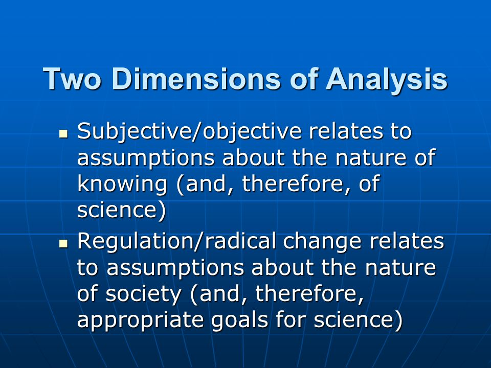 Two Dimensions of Analysis Subjective/objective relates to assumptions about the nature of knowing (and, therefore, of science) Subjective/objective relates to assumptions about the nature of knowing (and, therefore, of science) Regulation/radical change relates to assumptions about the nature of society (and, therefore, appropriate goals for science) Regulation/radical change relates to assumptions about the nature of society (and, therefore, appropriate goals for science)