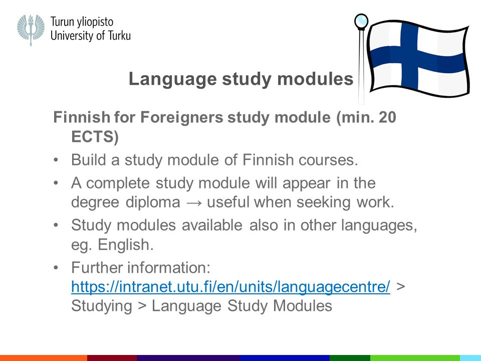 Language study modules Finnish for Foreigners study module (min.