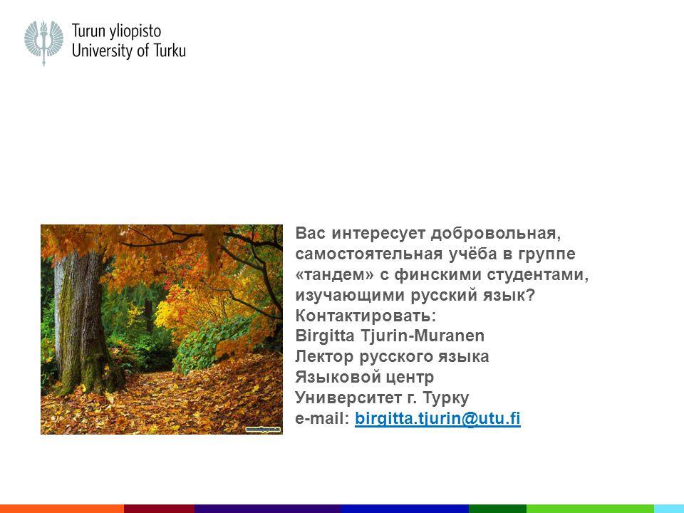 Вас интересует добровольная, самостоятельная учёба в группе «тандем» с финскими студентами, изучающими русский язык.