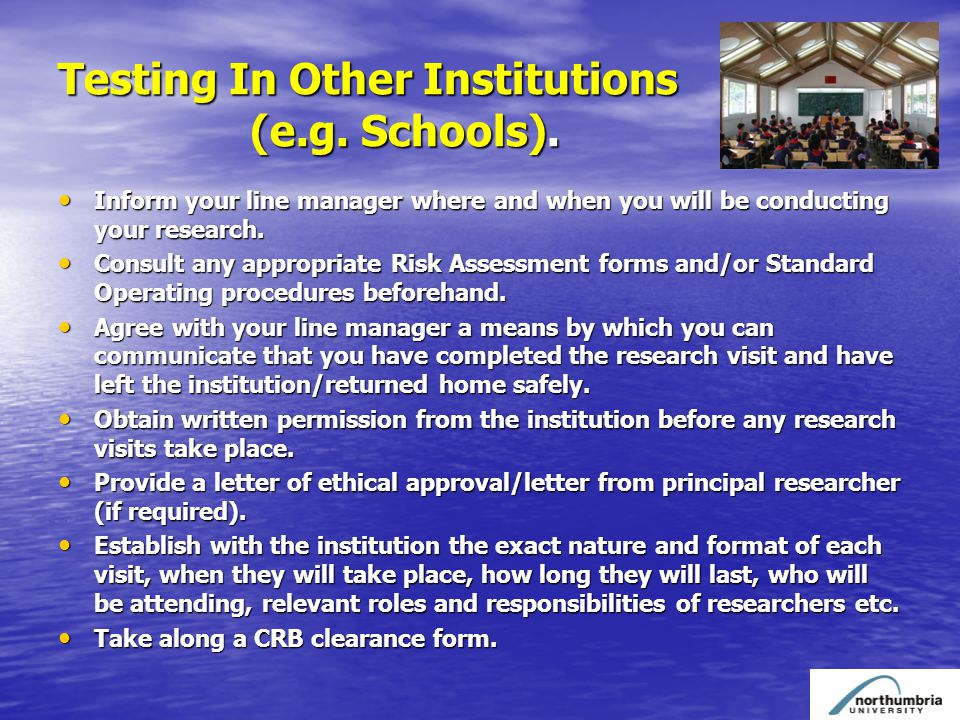 Testing In Other Institutions (e.g. Schools).