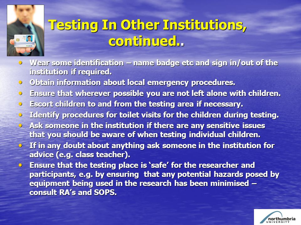 Testing In Other Institutions, continued.. Testing In Other Institutions, continued..