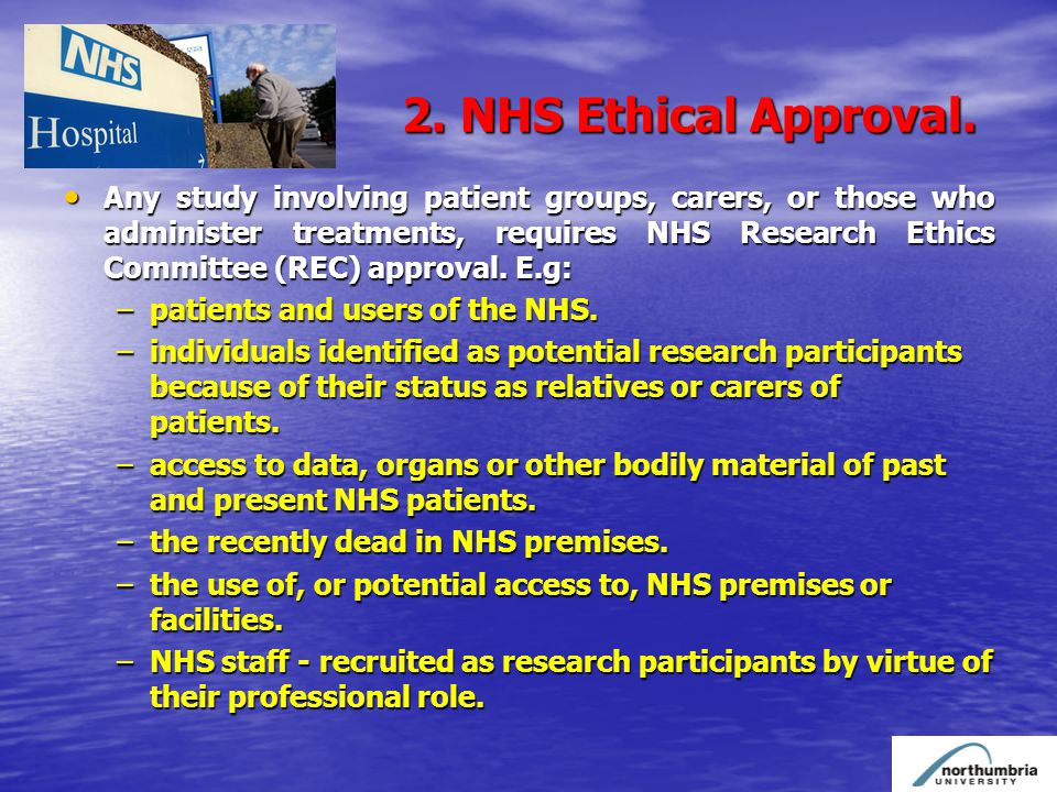 2. 2. NHS Ethical Approval.