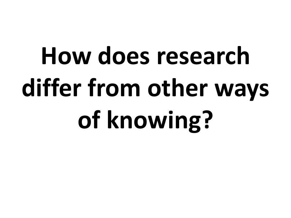 How does research differ from other ways of knowing?