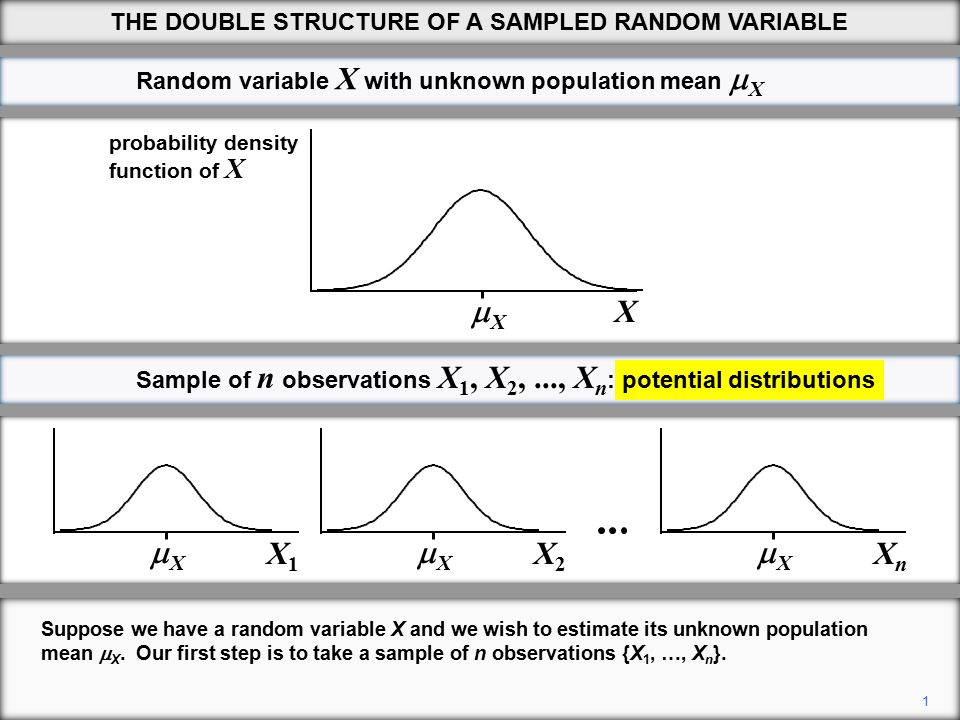 12 THE DOUBLE STRUCTURE OF A SAMPLED RANDOM VARIABLE All we know is that it will be generated randomly from the distribution of X.