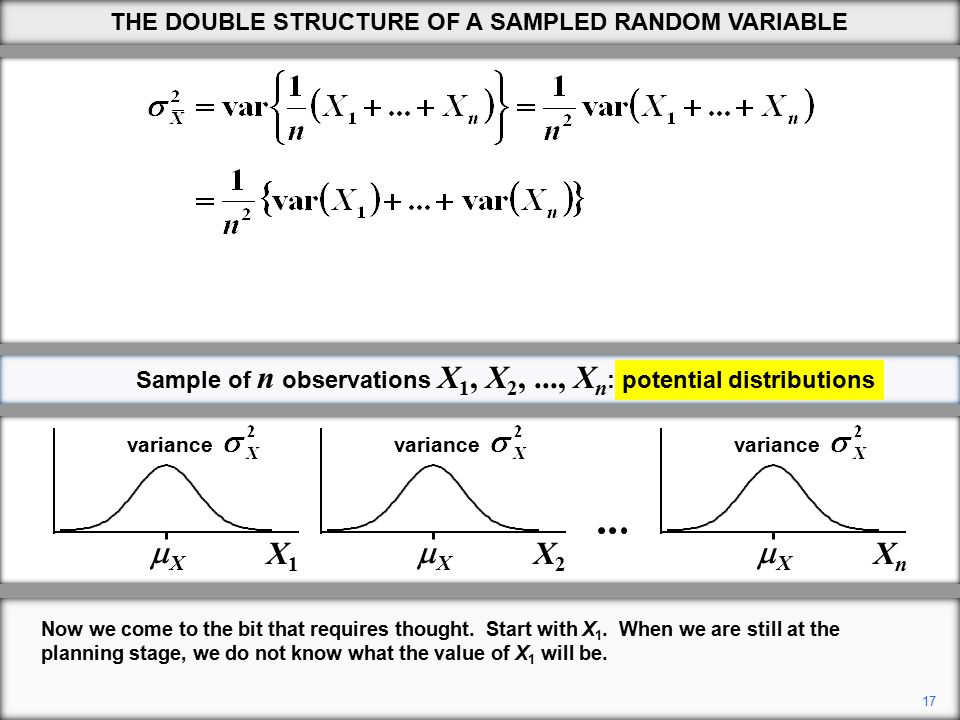 17 THE DOUBLE STRUCTURE OF A SAMPLED RANDOM VARIABLE Now we come to the bit that requires thought.
