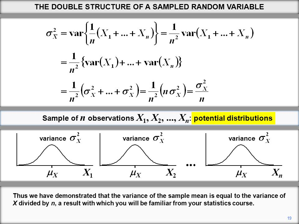 19 Thus we have demonstrated that the variance of the sample mean is equal to the variance of X divided by n, a result with which you will be familiar from your statistics course.