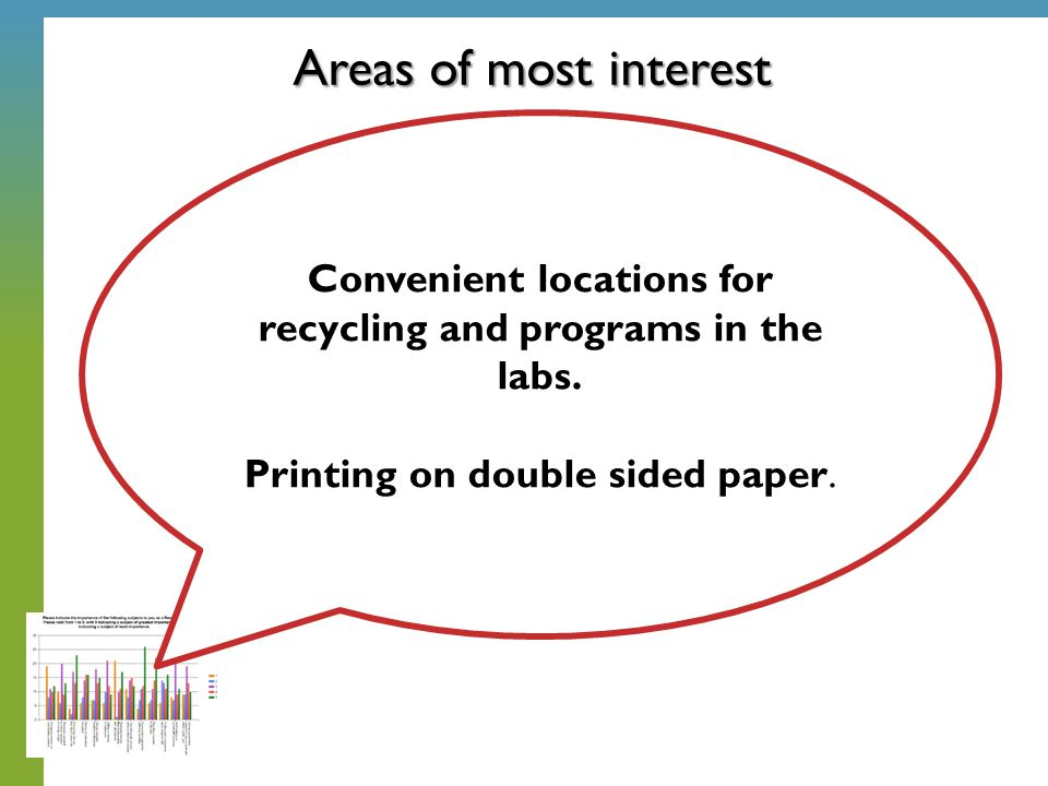 Areas of most interest Convenient locations for recycling and programs in the labs. Printing on double sided paper.