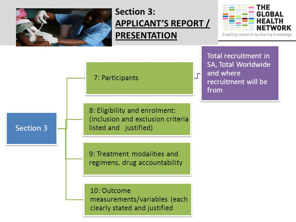Section 3: APPLICANT'S REPORT / PRESENTATION Section 3 7: Participants Total recruitment in SA, Total Worldwide and where recruitment will be from 8: