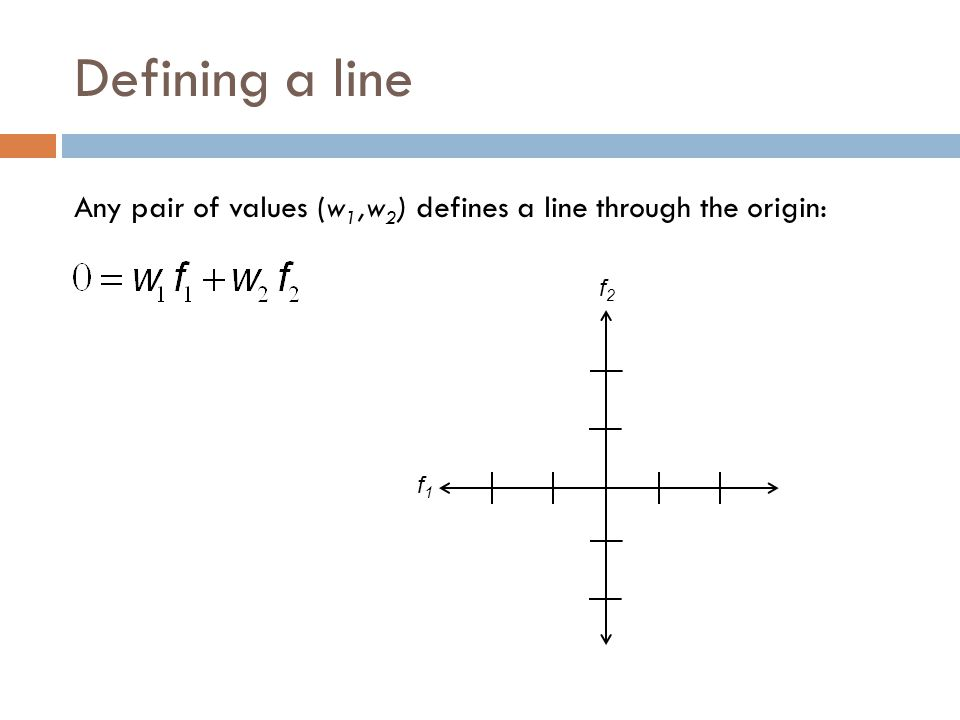 Defining a line Any pair of values (w 1,w 2 ) defines a line through the origin: f1f1 f2f2