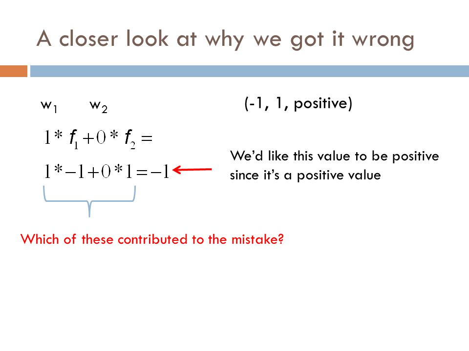 A closer look at why we got it wrong w1w1 w2w2 We'd like this value to be positive since it's a positive value (-1, 1, positive) Which of these contributed to the mistake