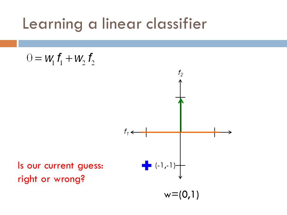Learning a linear classifier f1f1 f2f2 w=(0,1) (-1,-1) Is our current guess: right or wrong