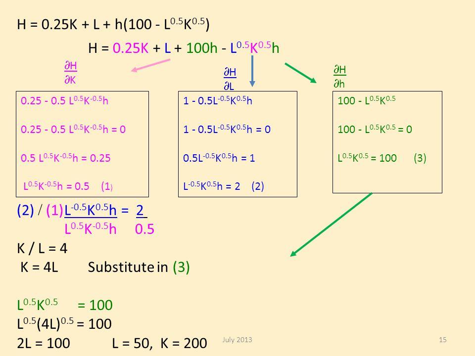 H = 0.25K + L + h(100 - L 0.5 K 0.5 ) H = 0.25K + L + 100h - L 0.5 K 0.5 h HKHK HLHL HhHh 0.25 - 0.5 L 0.5 K -0.5 h 0.25 - 0.5 L 0.5 K -0.