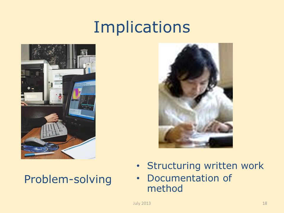 Implications Structuring written work Documentation of method Problem-solving July 201318