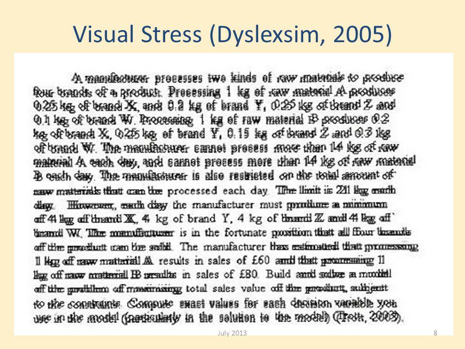Visual Stress (Dyslexsim, 2005) July 20138