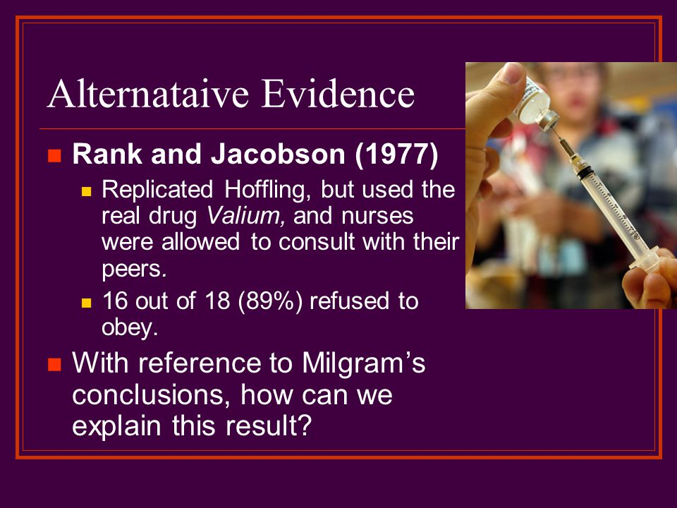 Alternataive Evidence Rank and Jacobson (1977) Replicated Hoffling, but used the real drug Valium, and nurses were allowed to consult with their peers.